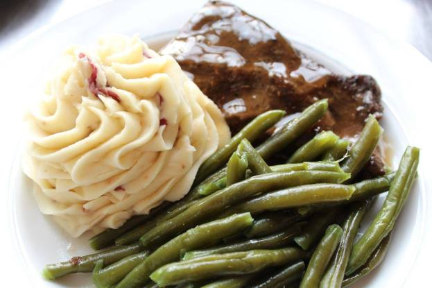 Piped Whipped Idaho Potatoes, Green Beans Almondine, and Grilled Flank Steak