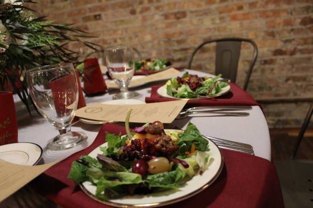 Plated Autumn Salad with Candied Pecans