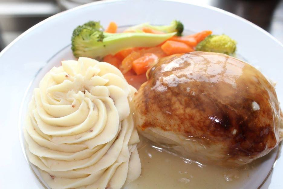 Piped Whipped Idaho Potatoes, Sage Stuffed Chicken, and Vegetable Medley