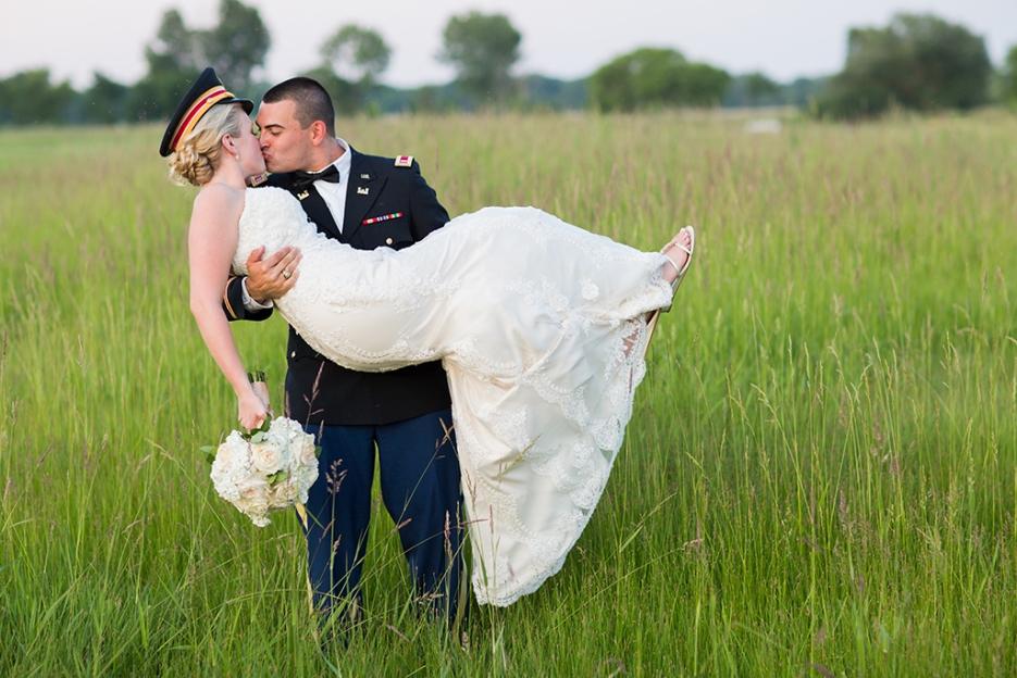 Marine and Bride wedding photography by Saint Charles Wedding Photographer