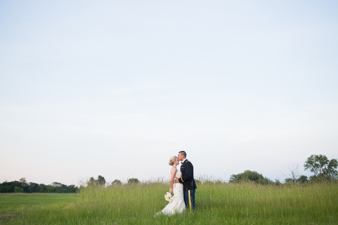Wide Angle Field Bride and Groom Lifestyle portrait in Saint Charles, Illinois