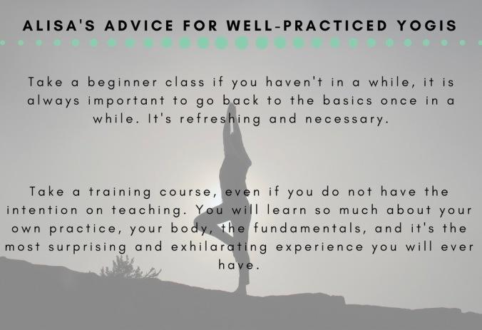 Alisa's ADvice for well-practiced yogis