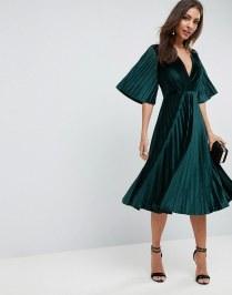Pleated Velvet Kimono Midi Dress by ASOS