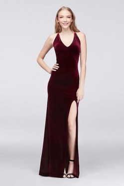 V-neck velvet sheath dress by Teeze Me by Choon