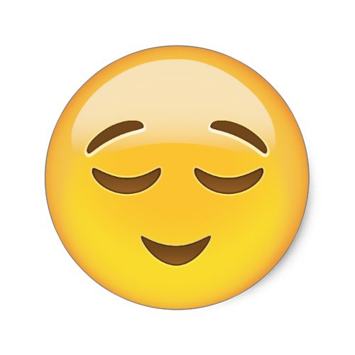 Relieved-Face-Emoji-Classic-Round-Sticker